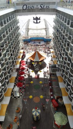 Over view of the Board Walk and the Aqua Theater aboard the Oasis of the Seas