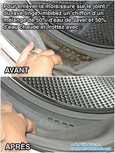Utilisez de l'eau de javel pour enlever la moisissure sur le joint de la machine à laver