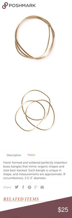 Mela Mosey set of 3 brass bangle bracelets Mela Mosey set of 3 brass bangle bracelets.  Hand made. Jewelry Bracelets