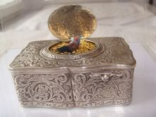 Antique silver singing bird box made in Germany by Karl Griesbaum