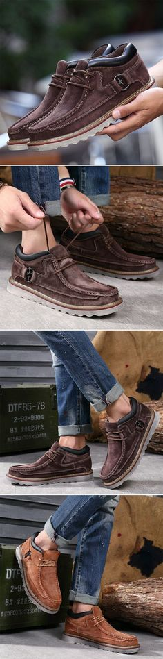 Washable Suede Sewing Retro Classic Lace Up Casual Shoes For Men