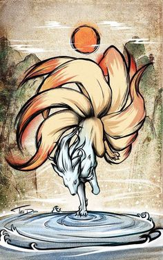 The original kitsune. The oldest and most legendary of all . Und der Hüter der … The original kitsune. The oldest and most legendary of them all. Pokemon Tattoo, Pokemon Fan Art, O Pokemon, Pet Anime, Anime Animals, Anime Art, Mythical Creatures Art, Fantasy Creatures, Fantasy Kunst