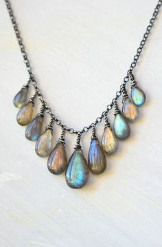 All Together Now Sterling Silver Multi Color Labradorite Necklace