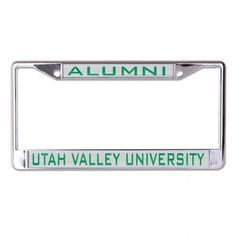 """UTAH VALLEY UNIVERSITY INLAID METAL LIC PLATE FRAME WinCraft Item #L376814 Metal License Plate Frame is decorated with inlaid laser cut color acrylic and mirror. The cast zinc frame is chrome plated zinc alloy with two mounting holes on the top of the frame. This plate frame is perfect for the front of your car since the large imprint area may cover up your tabs on your back plate, please check your local laws. Standard 6""""x12"""" size. Decorated in the USA"""