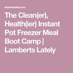 The Clean(er), Health(ier) Instant Pot Freezer Meal Boot Camp   Lamberts Lately