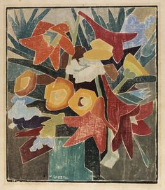 'Florida Flowers', 1940 - by Blanche Lazzell (1878-1956) |  White-line color woodcut | Herbert F. Johnson Museum of Art