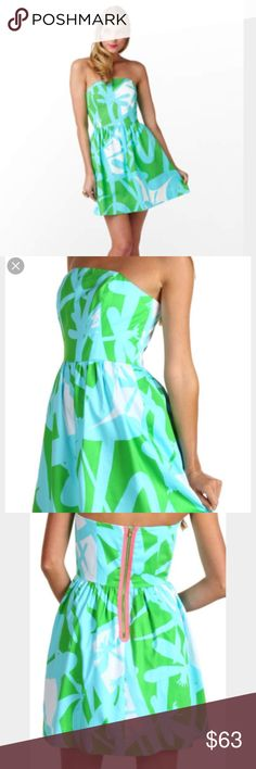 Lilly Pulitzer Lottie green bean all lit up dress Very cute dragonfly print. 100% cotton strapless dress. It's in great condition, no rip, holes, tears or stains. No imperfections whatsoever. Nice for spring and summer weather. Lilly Pulitzer Dresses