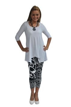 126035-WHITE https://fashquedesigns.com/shop/126035-white/ SCOOP NECK 3/4 SLEEVE TUNIC  The Legging displayed with the Tunic can be purchased HERE....