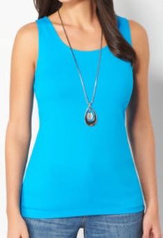 CJ BANKS LAYERING TANK TOP - TURQUOISE - PLUS SIZE 1X #CJBanks #Tank