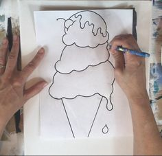 Ice Cream Cone Painting - Step By Step Tutorial For Beginners Kids Painting Projects, Painting Lessons, Painting For Kids, Drawing For Kids, Projects For Kids, Art For Kids, Ice Cream Cone Drawing, Draw Ice Cream, Ice Cream Painting