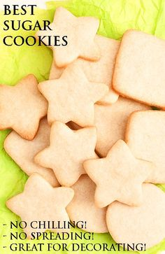 This is the BEST NO FAIL SUGAR COOKIES recipe. They taste great, don't spread, hold their shape, require no chilling and are great for cookie decorating! They are the perfect cut out sugar cookies (small batch recipe) for Christmas holidays. From http://cakewhiz.com