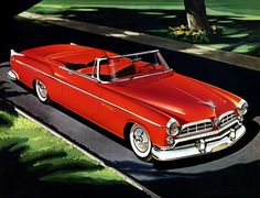 1955 Chrysler Windsor Deluxe convertible. This beautiful, red 1955 Chrysler Windsor Deluxe convertible was illustrated by Larry Baranovic for Chrysler sales material.