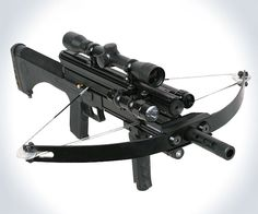 M4 180lb Tactical Crossbow. It comes fully loaded with a scope, red dot sight, LED flashlight, and Blue SWAT light attachments, as well as a magazine with capacity for 180 steel balls, and featherless arrow firing capabilities.