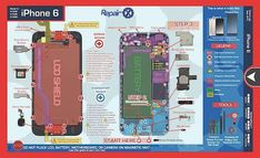 Apple iPhone 6 repair guide with color coding that clearly identifies the common parts of a device. Repair X®, the best screwmat ever Iphone Repair, Mobile Phone Repair, Prepaid Phones, Diy Home Repair, Repair Shop, New Mobile Phones, Ipod Touch 6th, Apple Iphone 6s Plus, Hydroponics