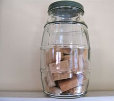 Use three of these as my canisters..Large Barrel Jar  Vintage Glassware by fishlegs on Eitsy, $19.00