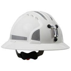 JSP Evolution 6161MCR2 Deluxe Full Brim Reflective Mining Hard Hat - Wheel Ratchet Suspension - White - The Evolution Deluxe 6161 Full Brim Mining Hard Hat is a true evolution of the long established MK2 and MK3 hard hats. It's shell is made of High Density Polyethylene (HDPE) and has many useful features. It comes with a 6-Point suspension system with polyester textile straps. | FullSource.com