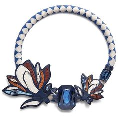 Tory Burch Abstract Floral Statement Necklace ($350) ❤ liked on Polyvore featuring jewelry, necklaces, navy blue, tory burch, navy blue jewelry, flower statement necklace, bib statement necklace and leather jewelry