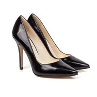 Lexie classic vintage high heel stiletto style vegan court shoe pump with pointed toe made from black Italian non leather synthetic 100% Vegan, vegetarian and cruelty-free.