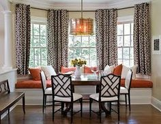 J.Adler chairs, pattern drapes, long red bench