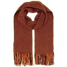 D4903 0003 Orange/Black Wool Blend Crochet Knit Chevron Scarf (58 CAD) ❤ liked on Polyvore featuring accessories, scarves, orange, colorful scarves, knit shawl, missoni scarves, colorful shawls and orange scarves
