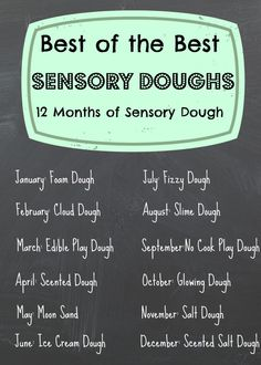 12 months of Sensory Dough: Come Link up Foam Dough, Cloud Dough, Edible Play dough, And Now Scented Dough! New Link-ups open the of every month, open all year! Sensory Bins, Sensory Activities, Sensory Play, Learning Activities, Preschool Activities, Sensory Table, Preschool Art, Indoor Activities, Kindergarten Sensory