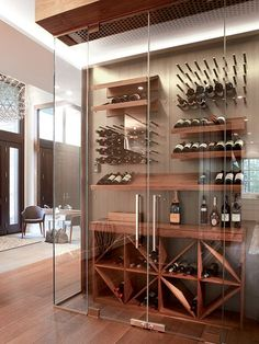 Play one of these cost free DIY wine shelf offers to create violet rack specifically for your house or something. Glass Wine Cellar, Home Wine Cellars, Wine Cellar Design, Wine Cellar Modern, Wine Glass, Wine Shelves, Wine Storage, Glass Shelves, Cave A Vin Design