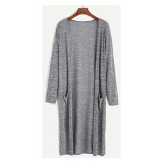 Grey Marled Knit Long Cardigan With Pocket (197.345 IDR) ❤ liked on Polyvore featuring tops and cardigans