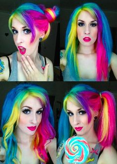 Sarah Stitches, hair, hair color, rainbow, rainbow hair