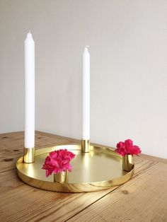 Bloomingville gold candle holder from nordicandco , 'hygge' candles Gold Candle Holders, Gold Candles, Advent Candles, Hygge