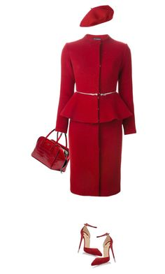 """Lady In Red"" by marion-fashionista-diva-miller ❤ liked on Polyvore featuring Vika Gazinskaya, Christian Louboutin and treatyoself"