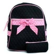 - Super cute and girly backpack on-the-go!  - Quilted cotton fabric  - Zipper top entry  - Convertible shoulder straps from one strap to dual straps  - Gingham style interior lining  - Two side pockets  - Front zipper pocket  - Inside side zipper pocket and cell phone pouch  - Includes a cosmetic...