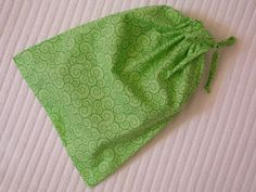 Medium Lime Green Swirls Wrapping Bag with self fabric drawstring by CrazyAuntBettyBags on Etsy