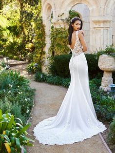 Moonlight Collection J6574A stretchy unlined illusion low V-back wedding gown with lace chapel train #nudeweddingdress #bride #wedding #bridal #weddingdress #lace
