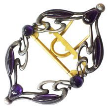 Silver and Amethyst Paste Piel Freres Art Nouveau Buckle