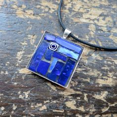 Cobalt Blue Mosaic Pendant by Margaret Almon of nutmegdesigns on Etsy