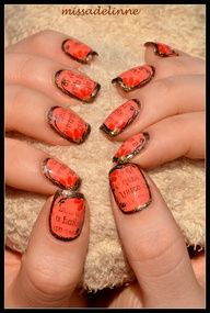 Vintage Nails- Idk why but I really like these. maybe not quite as messy Funky Nail Art, Funky Nails, Border Nails, Hair And Nails, My Nails, Newspaper Nails, Vintage Nails, Nail Techniques, Top Nail