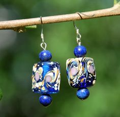 Square Pillow Lampwork Glass Blue Lapis by KarmaKittyJewelry, $14.50