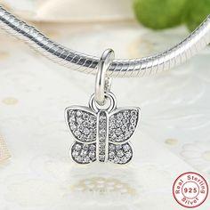 Farfalla Brillante, Fluttering butterfly vernal Pendant, Charm, Argento925 adatta a Pandora Charms Pandora Beads e Bracciale europeo PAS167 di OceanBijoux su Etsy