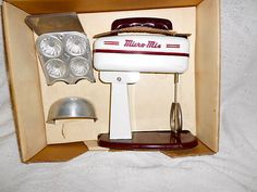 Micro-Mix Vintage Tin Toy Child's Kitchen Mixer in Box