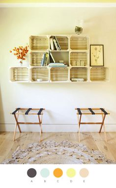 I love the idea of using old crates as shelving! I found wooden crates cheap on Craigslist! Milk Crate Shelves, Apple Crate Shelves, Crate Bookshelf, Apple Crates, Crate Storage, Wall Storage, Crate Shelving, Book Shelves, Basket Storage
