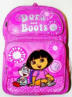 Dora The Explorer Dora and Boots Pink Flowers  Fireworks Style School Backpack ** Read more reviews of the product by visiting the link on the image.