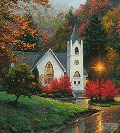 cross stitch pattern Autumn Chapel (Crop) Beautiful Buildings, Beautiful Landscapes, Beautiful Places, Beautiful Pictures, Beautiful Artwork, Old Country Churches, Old Churches, Abandoned Churches, Church Pictures
