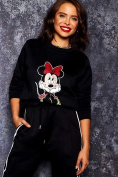 08210ee8608 boohoo Disney Minnie Distressed Sweat  minniemouse  disney  sweatshirts  ad