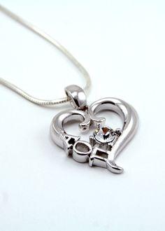 AOII Heart Pendant with Swarovski™ Clear Crystal