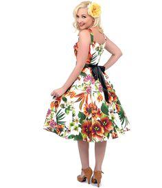 1950s Style White & Orange Floral Swing Dress