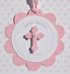 Baptism Favor Tags Pink Set of 12 Confirmation von StudioDris Christening Party, Christening Invitations, Baby Christening, Christening Decorations, Confirmation Cards, Baptism Cards, Communion Favors, Baptism Favors, Favor Tags