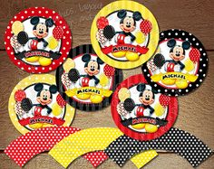 Mickey Mouse Cupcake Toppers and Wrappers, Mickey Mouse Party Circles Mickey Mouse Favor Tags Gift Tags Red Yellow Black DIY Printable Favor Tags, Gift Tags, Mickey Mouse Favors, Vintage Mickey Mouse, Party Printables, Yellow Black, Cupcake Toppers, Circles, Invitations