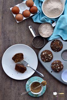 Muffins de pera, iogurte e chia