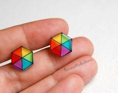 Pendientes del perno prisionero hexagonal, geométrico arco iris entradas, cometas espárragos, ilustrados joyería