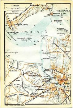 Hampton Roads Norfolk Va C 1905 Vintage Color Lithograph U S City Plan Map